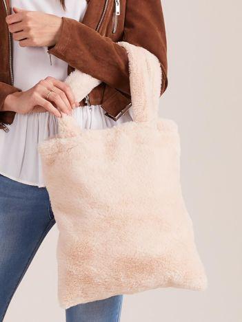 Beżowa futrzana torba