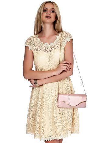 Beżowa koronkowa sukienka damska