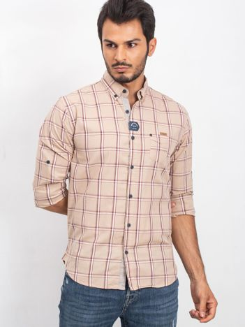Beżowa koszula męska Manly