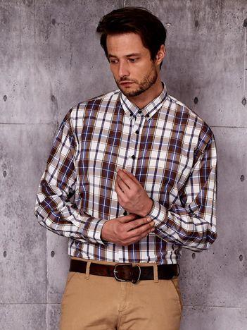 Beżowa koszula męska w kolorową kratę PLUS SIZE