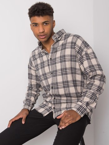 Beżowa koszula męska w kratę Owen