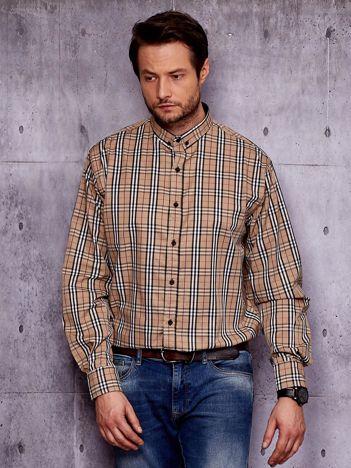 Beżowa koszula męska we wzór kratki