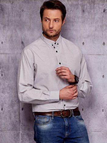 Beżowa koszula męska wzór kolorowej kratki PLUS SIZE