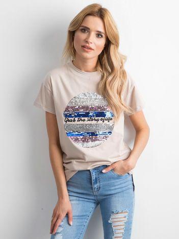 Beżowa koszulka z cekinami