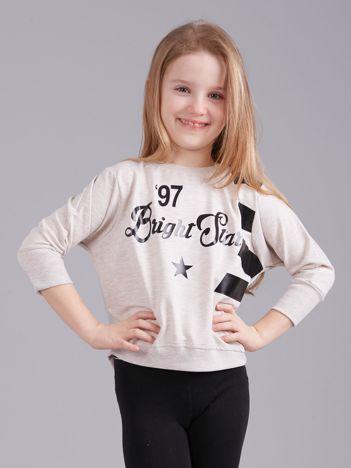 Beżowa krótka bluza z nadrukiem dla dziewczynki