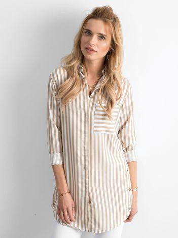Beżowa luźna koszula w paski