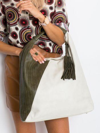 Beżowa miękka torba damska na ramię