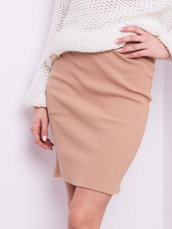 Beżowa mini spódnica ołówkowa w prążek