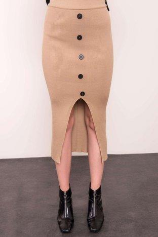 Beżowa prążkowana spódnica BSL