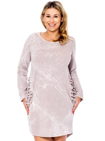 Beżowa sukienka cut out PLUS SIZE