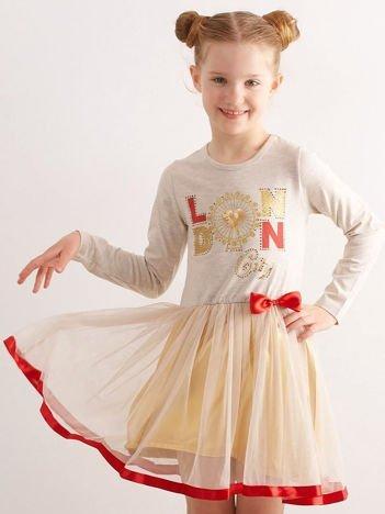 Beżowa sukienka dla dziewczynki z aplikacją