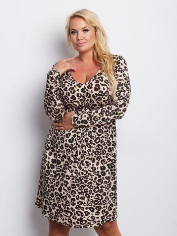 Beżowa sukienka plus size Signature