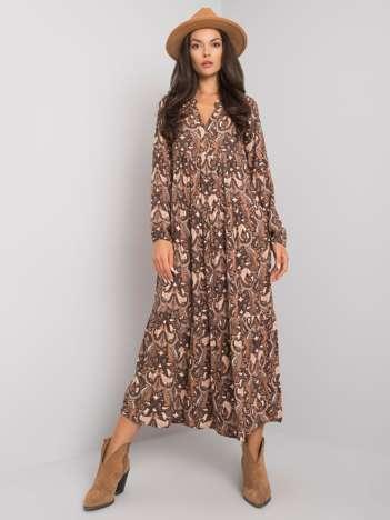 Beżowa sukienka z falbaną Mattie SUBLEVEL