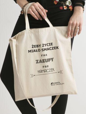 Beżowa torba ekologiczna z bawełny z napisem