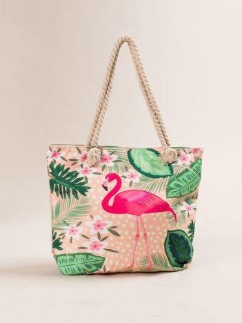 Beżowa torba na zakupy z tropikalnym nadrukiem