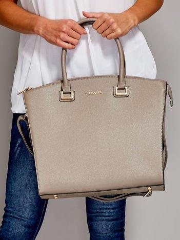 Beżowa torba shopper bag ze złotymi okuciami