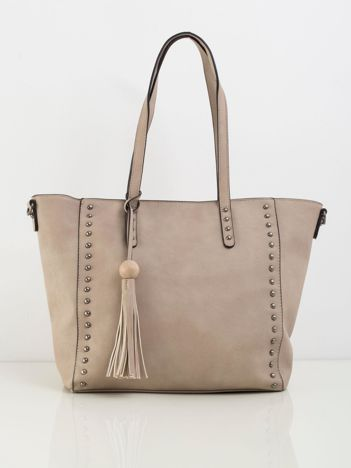 Beżowa torba shopperka z ekoskóry