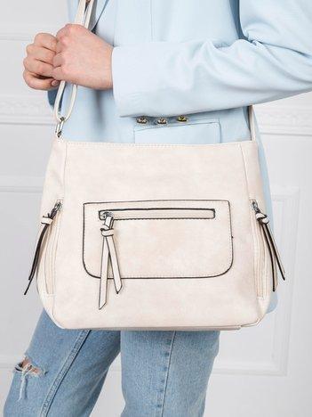 Beżowa torebka z długim paskiem