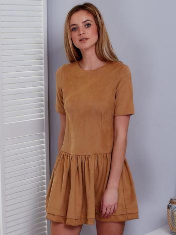 Beżowa zamszowa sukienka