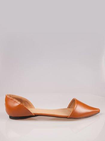 Beżowe baleriny faux leather Tiffany z wyciętymi bokami