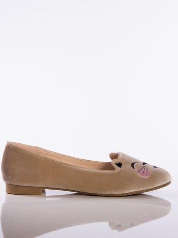 Beżowe baleriny z satyny z wizerunkiem kotka na przodzie buta