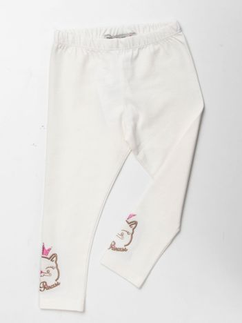 Beżowe bawełniane legginsy dla dziewczynki