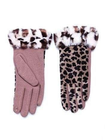 Beżowe bawełniano-zamszowe damskie rękawiczki z motywem zwierzęcym
