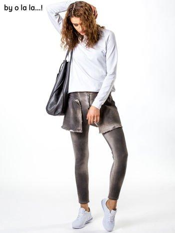 Beżowe dekatyzowane spodnie dresowe BY O LA LA