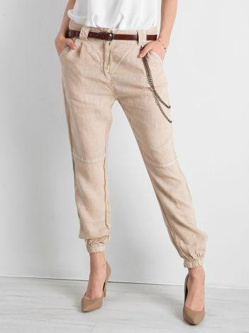 Beżowe lniane spodnie