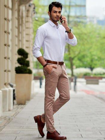 Beżowe spodnie męskie chinosy