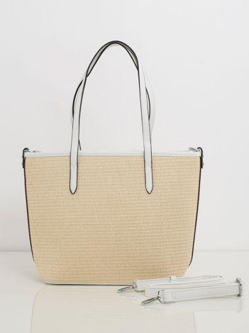 Beżowo-biała pleciona torebka