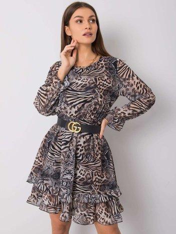 Beżowo-czarna sukienka Gwen OCH BELLA