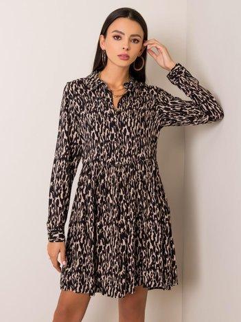 Beżowo-czarna sukienka Maite FRESH MADE
