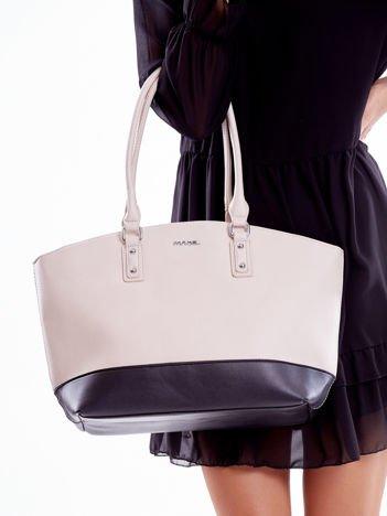Beżowo-czarna torba shopper bag two tone