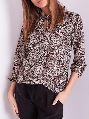 Beżowo-czarna wzorzysta bluzka z wiązaniem przy dekolcie