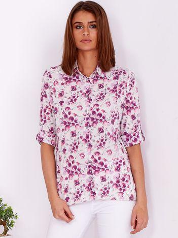 Beżowo-fioletowa kwiatowa koszula z podwijanymi rękawami