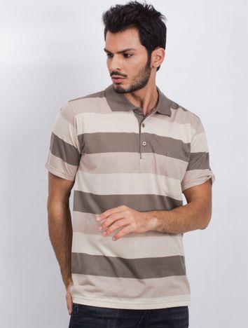 Beżowo-khaki koszulka polo męska Without