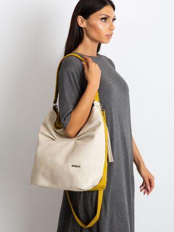 Beżowo-oliwkowa miękka torba