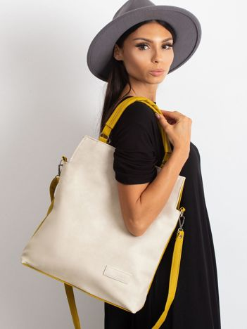 Beżowo-oliwkowa torba damska