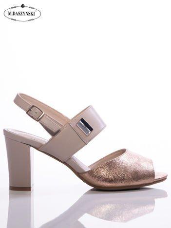 Beżowo-złote sandały Daszyński z ozdobną lustrzaną przypinką na boku