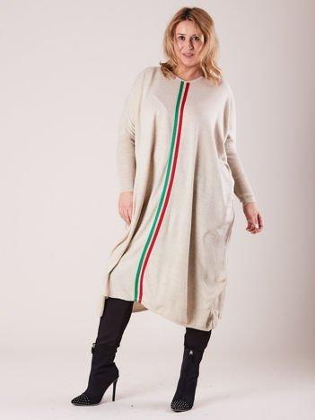 Beżowy długi luźny sweter PLUS SIZE
