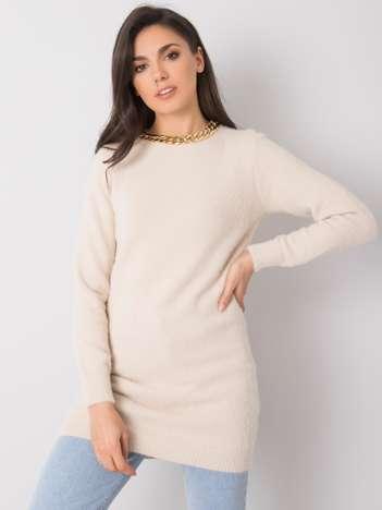 Beżowy długi sweter Emiliana