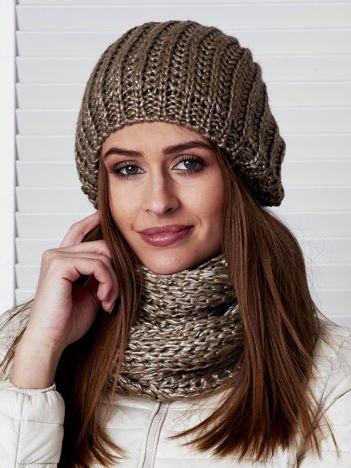 Beżowy komplet damski komin i czapka