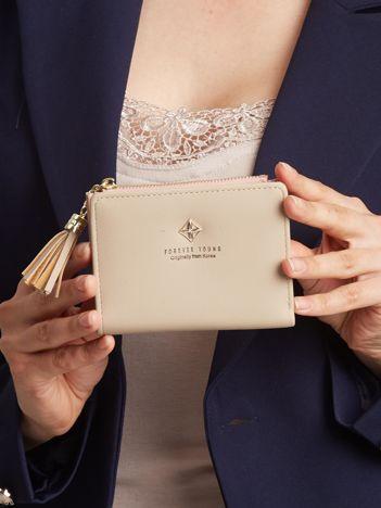 Beżowy mały portfel damski