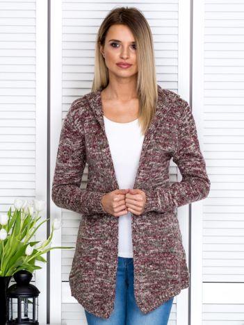 Beżowy melanżowy sweter z kapturem