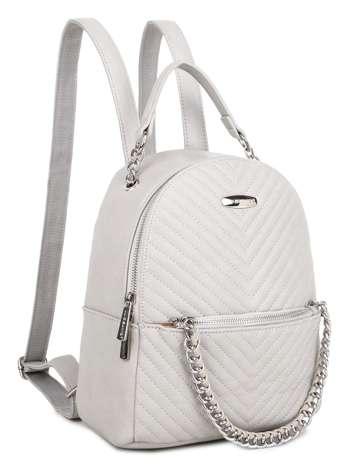 Beżowy plecak damski z przeszyciami