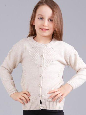 Beżowy rozpinany sweter dziewczęcy z perełkami