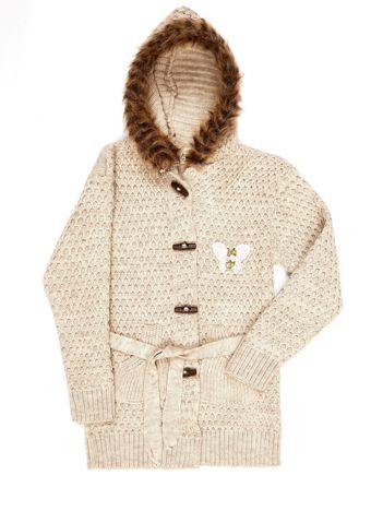 Beżowy sweter dla dziewczynki z futrzanym kołnierzem