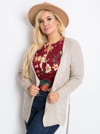 Beżowy sweter plus size Fluent