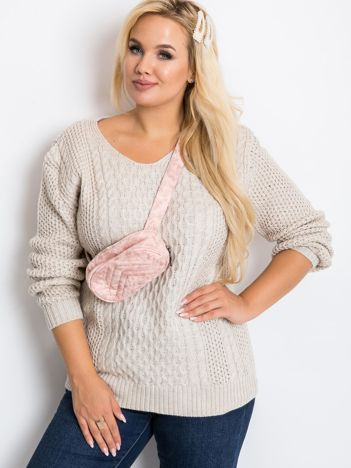 Beżowy sweter plus size Tango